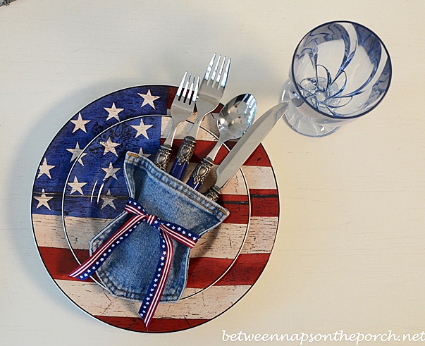 4th of July Table Setting Ideas, Recycle those old jeans