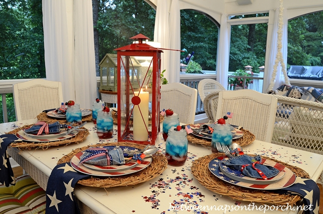 4th of July Table Setting with Warren Kimble Colonial Flag Dishware 2_wm