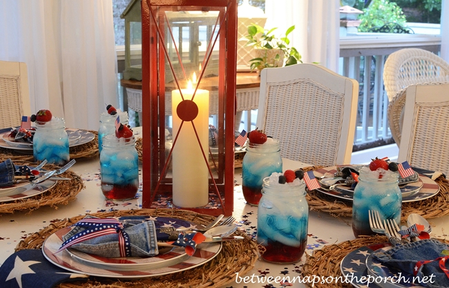 4th of July Table Setting with Warren Kimble Colonial Flag Dishware