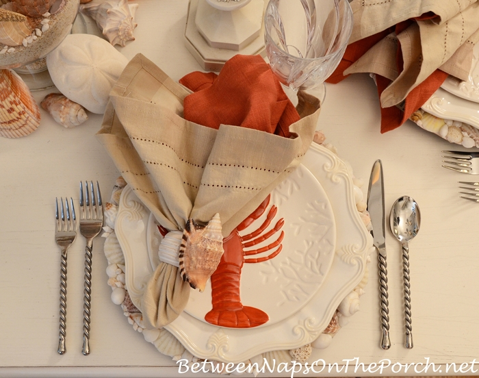 Beach Table Setting Tablescape with Lobster Salad Plates and Shell Chargers_wm (2)