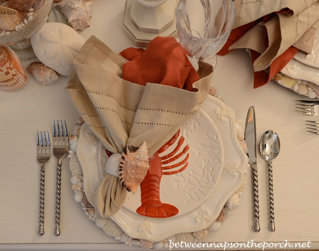Beach Table Setting Tablescape with Lobster Salad Plates and Shell Chargers