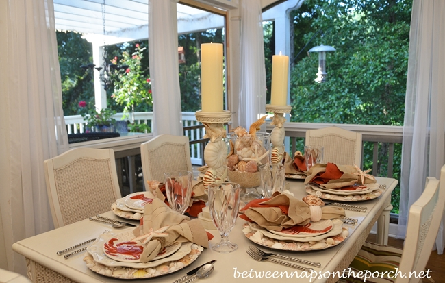Beach Tablescape with Lobster and Crab Plates on Shell Chargers