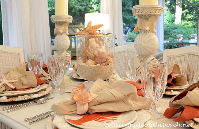 Beach Tablescape with Shell Centerpiece