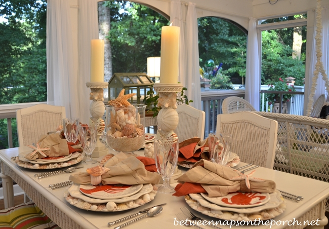 Beach Tablescape with Shell Chargers and Lobster and Crab Plates
