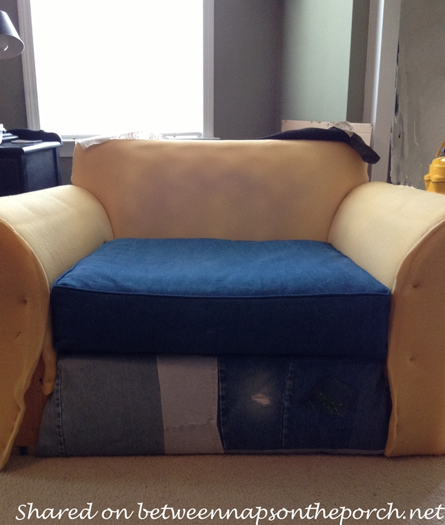 Chair Upholstered with Old Jeans