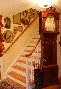Decorating a Staircase with Family Photos, Mirrors and Wall Shelfs