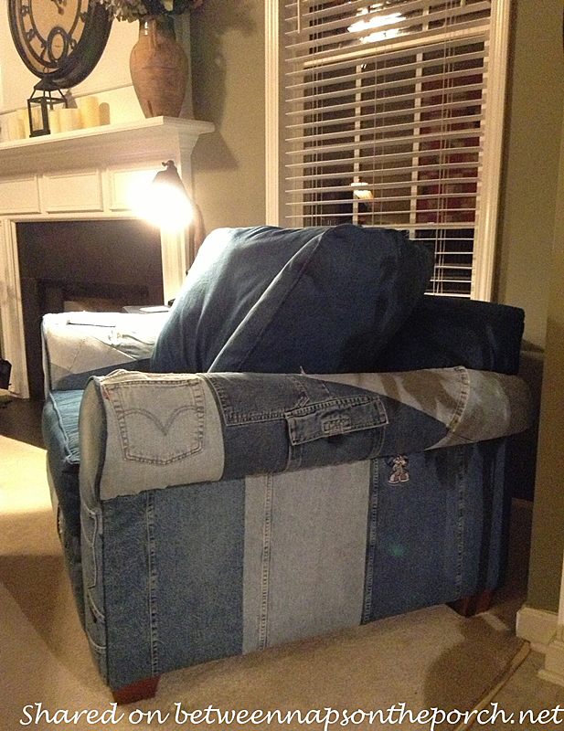 Denim Chair Upholstered with Old Jeans