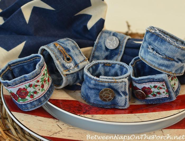 Denim Napkin Rings, Made from Old Denim Jeans, Denim Craft