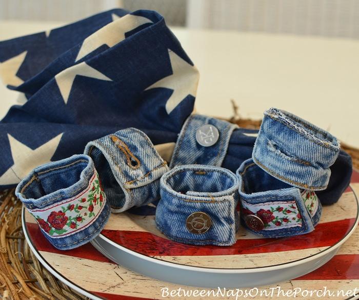 Denim Napkin Rings Made from Old Denim Jeans, Denim Craft