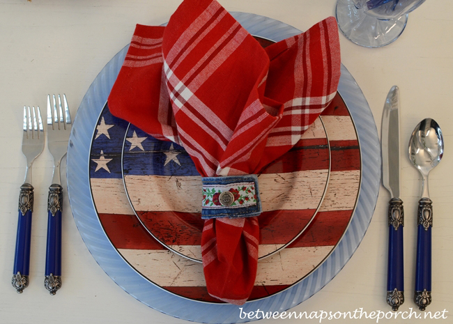 Denim Napkin Rings Made from Old Jeans for a Patriotic Table Setting