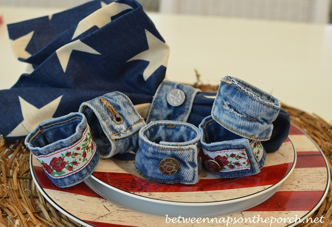Denim Napkin Rings Made from Old Jeans