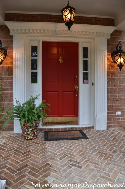 Front door painted in Benjamin Moore  Heritage RedPaint Your Front Door Red. Entry Door Kick Plates. Home Design Ideas