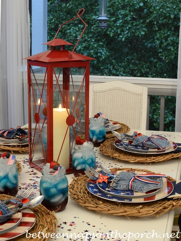 Independence Day Table Setting with Warren Kimble Colonial Dishware_wm