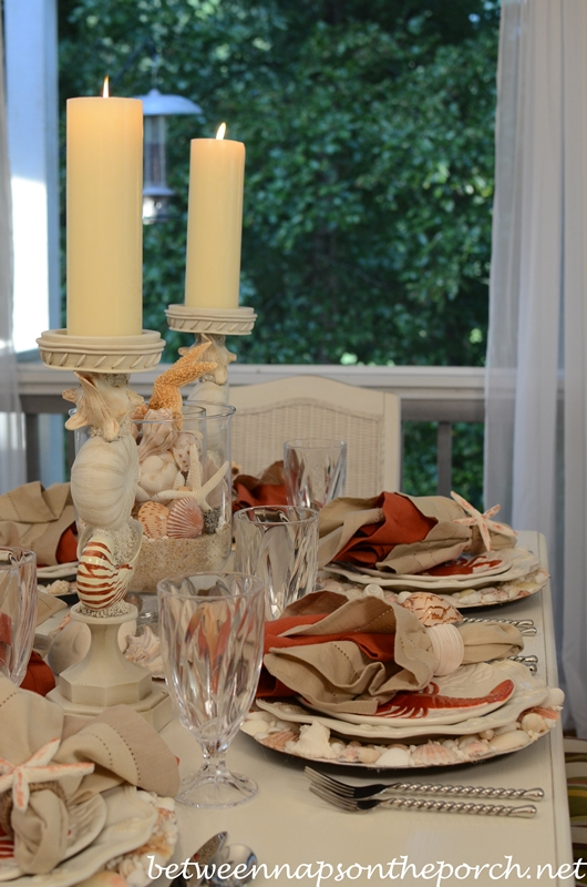 Nautical Themed Table Setting with Lobster & Crab Plates & Nautical Rope Flatware