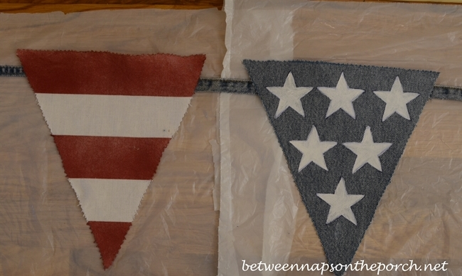 Patriotic Banner Made from Old Jeans