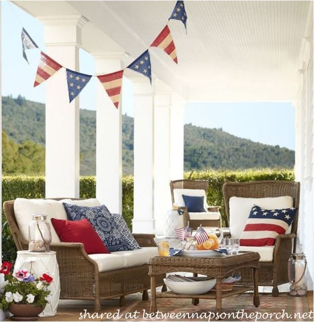 Pottery Barn Patriotic Flag Banner on Porch