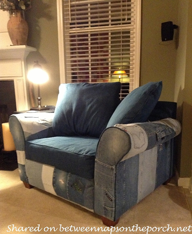 Recycle Old Jeans to Upholster a Chair