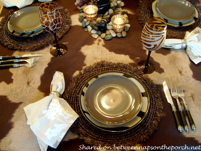 An african safari themed table setting tablescape for African party decoration
