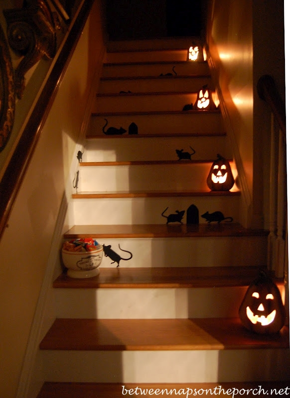 Staircase Decorated with Mice and Pumpkins for Halloween