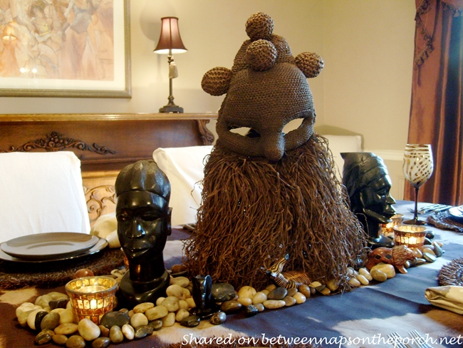 Tribal Mask Centerpiece for Safari Table Setting 2