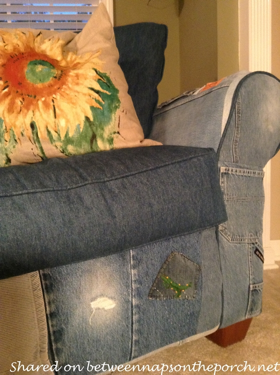 Upholster a Chair and Preserve Memories with Old, Denim Jeans