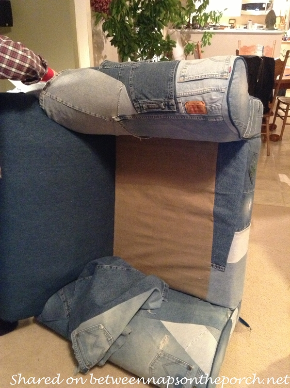 Upholster a Chair with Old Jeans