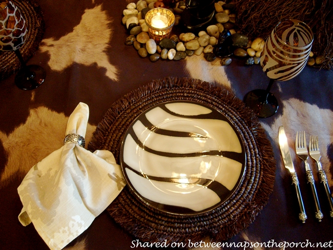 Zebra Striped Plates for an African Safari Themed Table Setting Tablescape