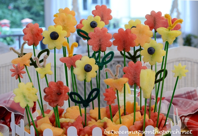 A Flower Garden Carved from Watermelon Centerpiece for a Summer Table Setting