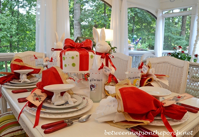 Alice in Wonderland Table Setting Tablescape