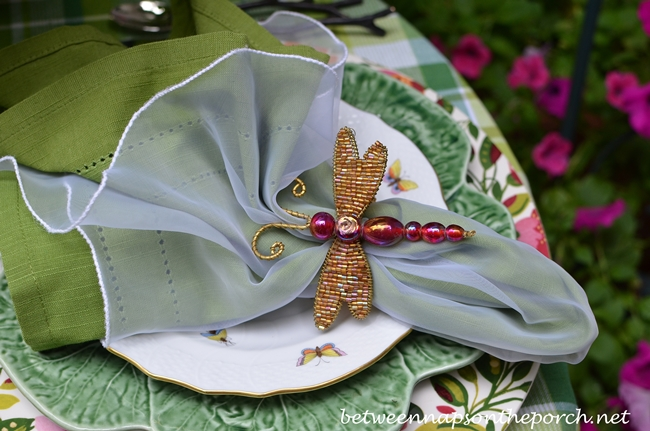 Beaded Dragonfly Napkin Rings