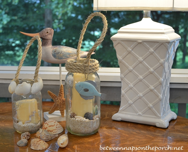 Candle Lantern DIY with Shells and Rope