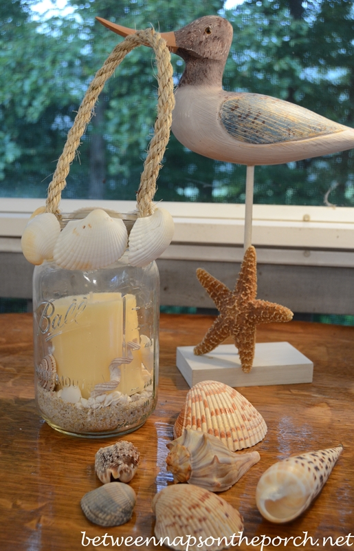 Candle Lantern Decorated with Shells