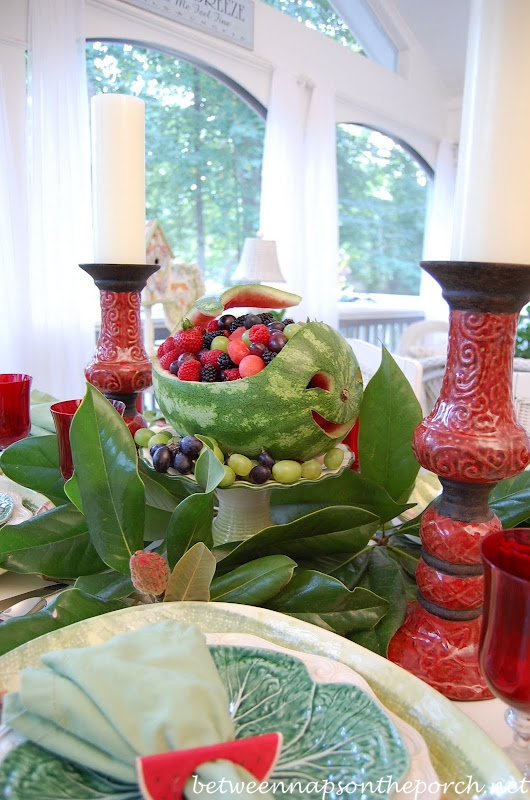 Carved Whale Watermelon Centerpiece for a Summer Tablescape