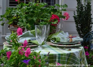 Floral Summer Table Setting Mixing Different Dish Patterns