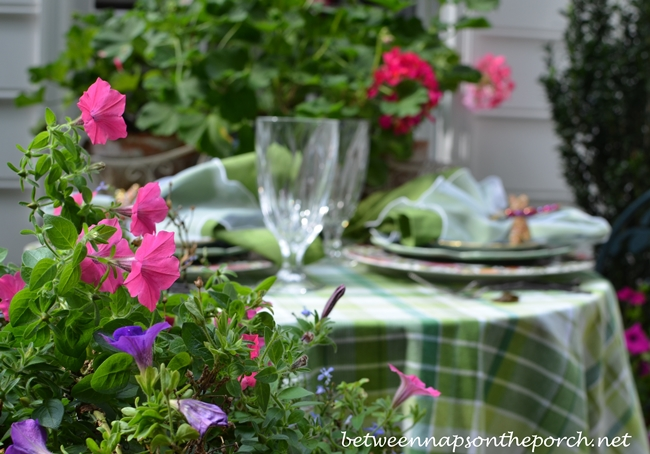 Floral Summer Table Setting with Geraniums and Petunias