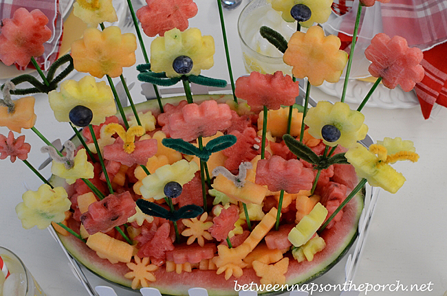 Flower Garden Carved from Watermelon Centerpiece for a Summer Table Setting