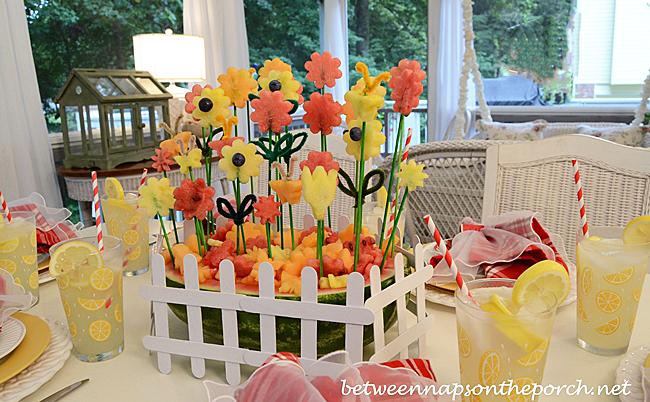 Flower Garden Carved from Watermelon Centerpiece