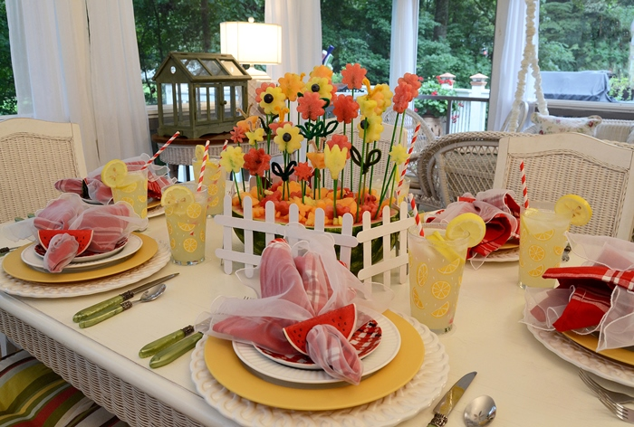 Summer Table, Carved Watermelon Centerpiece, Ant Plates, Lemon Glasses