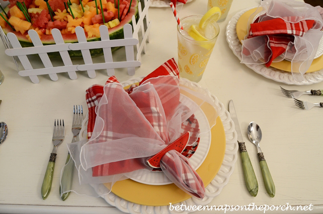 Summer Table Setting with Yellow Plates, Red Plaid Napkins and Green Flatware