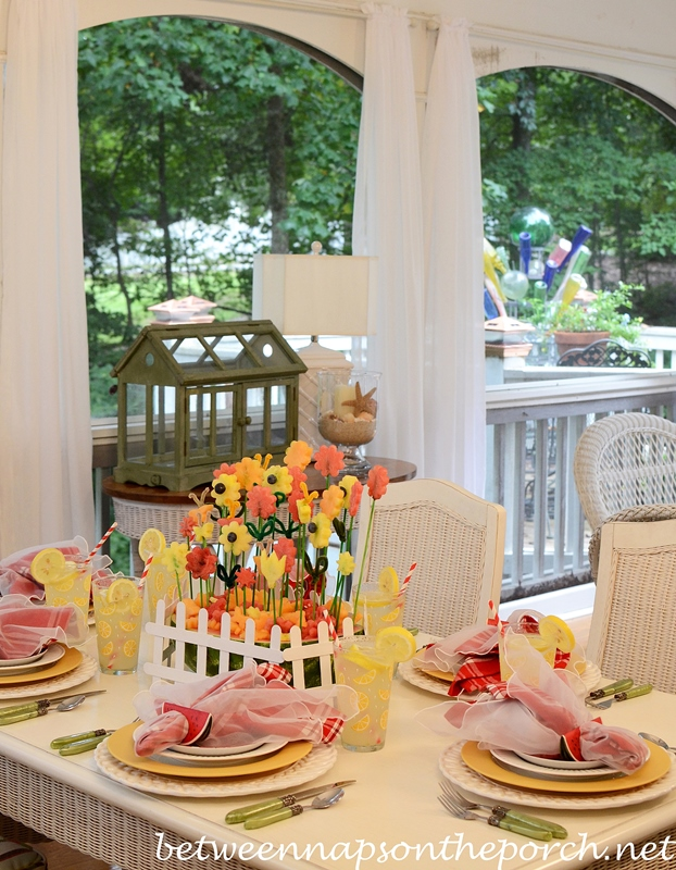 Summer Table Setting with a Carved Watermelon Centerpiece 2a