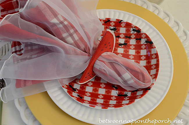 Summer Tablescape with Red Check Ant Plates