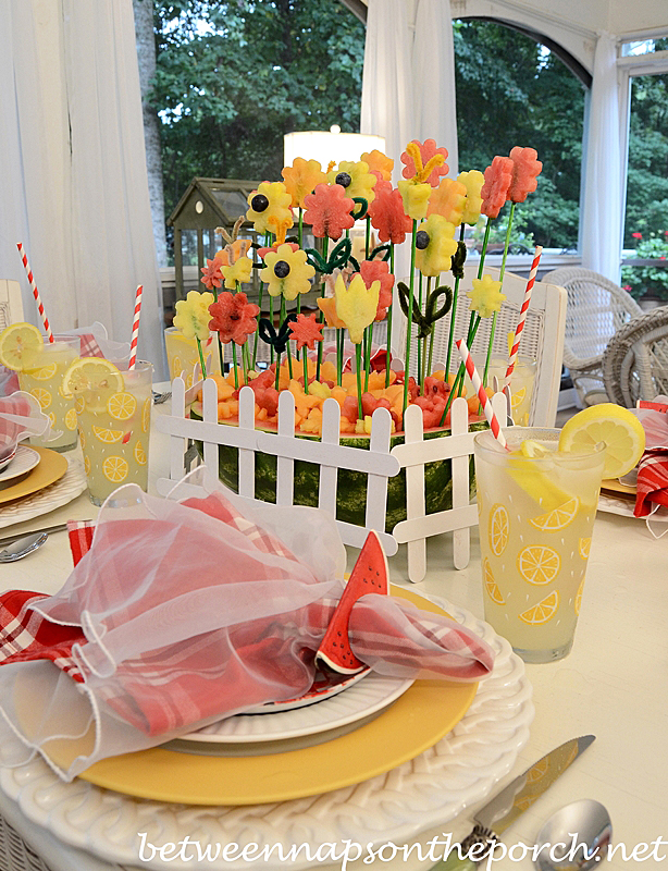 Summer Tablescape with a Carved Watermelon Centerpiece
