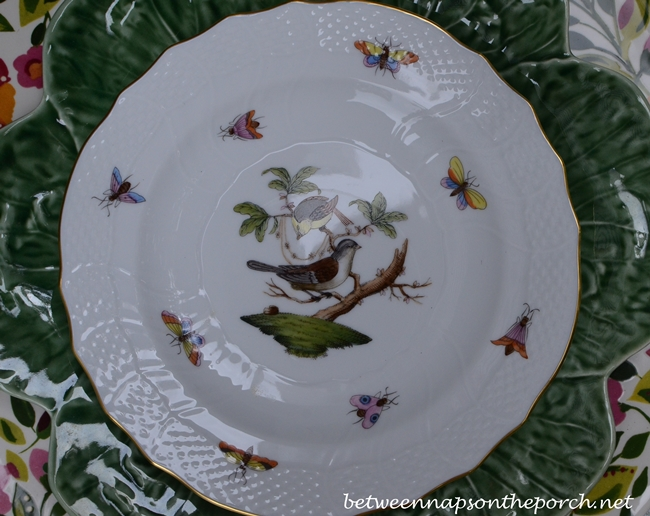 Tablescape Table Setting with Kim Parker Emma's Garden, Pinheiro Bordallo Cabbage Plates and Herend Rothschild Bird