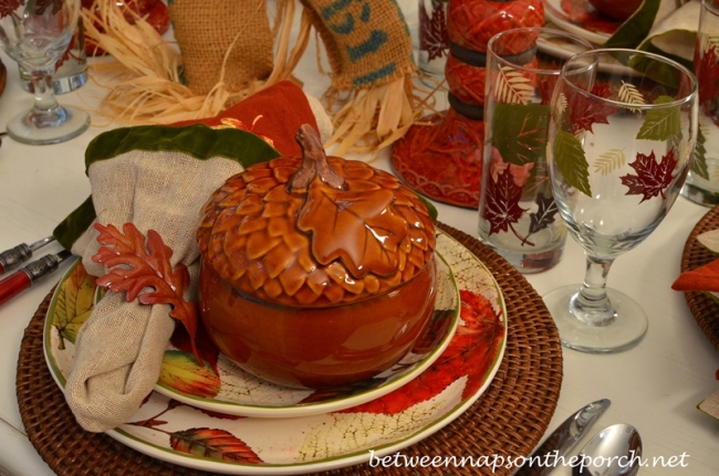 Acorn Tureen in a Autumn Tablescape