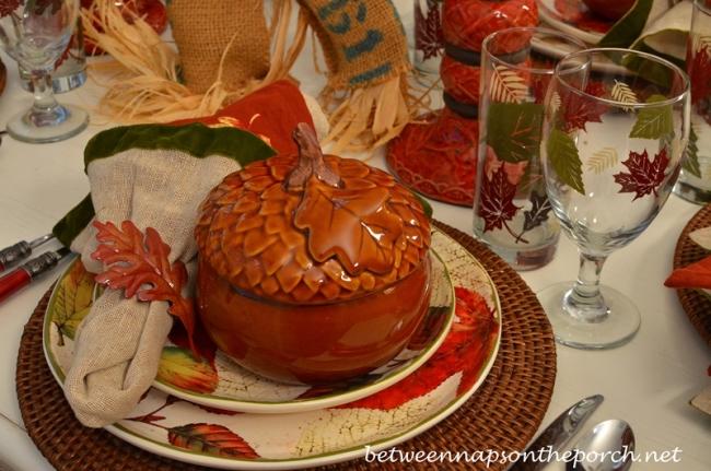 Acorn Tureen in a Autumn Tablescape