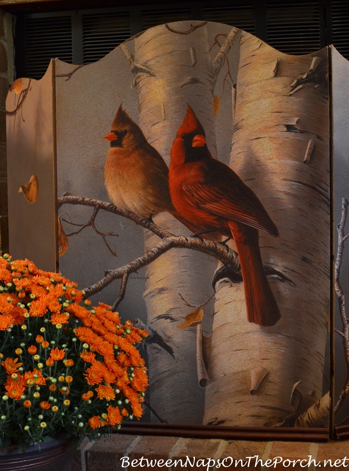 Autumn Firescreen with Cardinal Birds in Birch Tree