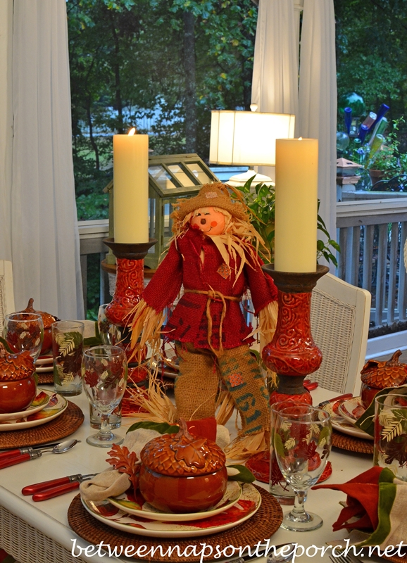 Autumn Table Setting Tablescape with Scarecrow Centerpiece