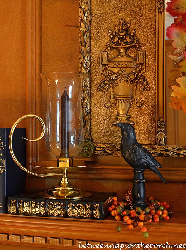 Baldwin Brass Candle Holder on a Fall Mantel