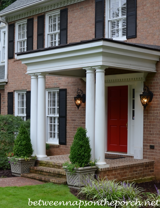 Boxwood Topiaries for a Front Porch