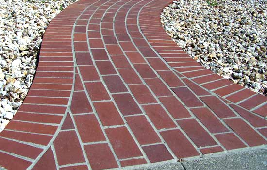 Brick Walkway flares out at end